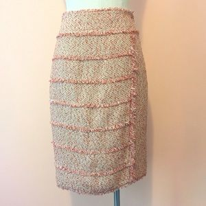 MAGASCHONI 🐙tweed fringe pencil work skirt Sz 6